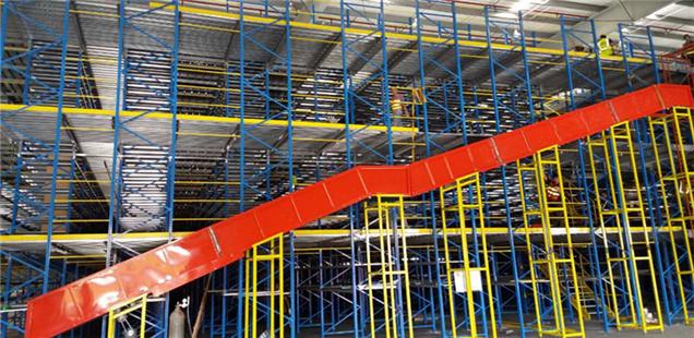 Warehouse mezzanine system for auto parts