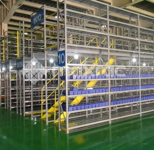 This automated storage system builds a pallet rack mezzanine area